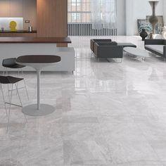 Prestige Natural Floor Tiles in Modern Open Plan Apartment click now for info. Natural Flooring, Modern Flooring, Grey Flooring, Living Room Flooring, Kitchen Flooring, Open Plan Apartment, Room Tiles, Floor Design, Living Room Modern