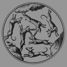Three hares pursued by three hounds