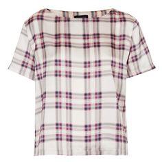 Topshop 'Summer Check' Print Tee ($40) ❤ liked on Polyvore featuring tops, t-shirts, tees, topshop, crewneck t shirt, crew t shirts, crew-neck tee, boxy tee and checkered t shirt