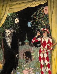 Konstantin Somov, Harlequin and Death, Black ink, watercolour and gouache on paper