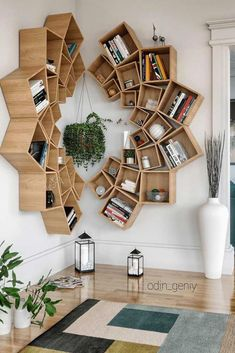 Wood Mandala Bookcase Design ★ When it comes to home decor projects, every single detail plays a crucial role, and bookcase is no exception. Check out the compilation of the latest bookcase arrangements to make your home design perfect. Wood Interior Design, Interior Design Living Room, Contemporary Interior, Kitchen Interior, Bookshelf Design, Bookcase Decorating, Decorating Ideas, Decor Ideas, Creative Bookshelves