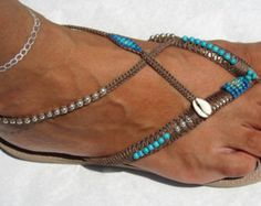 Boho Women Sandals, Flip Flops Bohemian Chic, Foot Jewelry Anklet Sandals, Boho Beach Sandals Shoes  Turquoise, Gold & Bronze Beaded Bohemian Flip Flop Sandals, based on Light Golden Havaianas - 100% Handmade.  You can decorate your hands, ears, neck but also … your feet!  These are an absolutely unique Must Have Flip Flops!!! The combination between style and comfortable at the same pair of sandals.  By decorating I used professional jewelry techniques and the highest quality materials v...