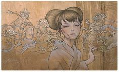 Audrey Kawasaki's One-of-a-Kind Wood Panel Paintings   Pondly