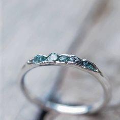 Hidden raw diamond ring, sterling silver, blue diamonds - dainty stacking ring by GardensOfTheSun on Etsy https://www.etsy.com/listing/178685229/hidden-raw-diamond-ring-sterling-silver