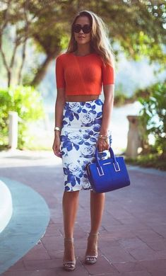 Inspiration. Bright colors. Pencil skirt and cropped top