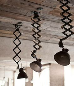 industrial—unusual pendant lighting and reclaimed wood ceiling. Again another extendible and flexible light design. Vintage Industrial Lighting, Industrial Interiors, Rustic Industrial, Industrial Design, Industrial Furniture, Deco Luminaire, Luminaire Design, Deco Design, Scandinavian Home