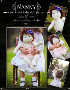 "Baby Doll, Cloth Doll, Handmade, Crafts, Little Girl, Baby, Birthday, Christmas, Shabby Chic, Classic Rag Doll Nanny Baby Doll Pattern - Cloth 16""  Nanny Doll By Country Cottage Dolls PDF PATTERN"