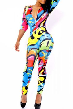 Colorful Graffiti Skintight Jumpsuit         US$ 9.09 Get you highly noticed in this brightly colored stretch fit jumpsuit. It is sleek supple with fine quality fabric made, and the showy colorful graffiti print makes this fashion bodysuit voguish head-turning. Pairing it with casual coat is stylish sexy as well. The silky stretch fabric also makes the wearer feel intimate friendly once slip in.