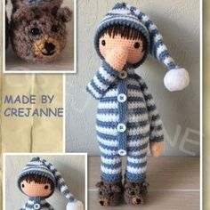 Sven in pajamas from grandfather's period. Digital Product: Requires a program that can open . Pattern is in English using crochet terminology from the United Kingdom. Doll Amigurumi Free Pattern, Crochet Doll Pattern, Crochet Patterns Amigurumi, Amigurumi Doll, Knitted Dolls, Crochet Dolls, Cute Crochet, Crochet Baby, Stuffed Toys Patterns