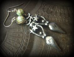 Goddess, Moon, Stars, Sun, Mother Earth, Earth Day, Czech Glass, Beaded Earrings by YuccaBloom on Etsy
