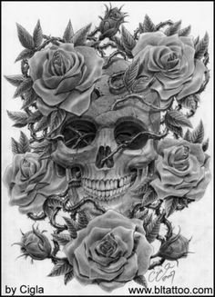 Skull And Roses Tattoo Designs                                                                                                                                                                                 More