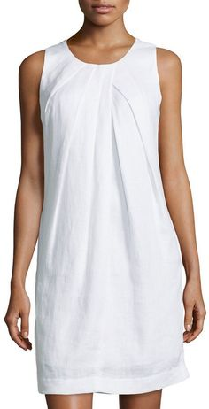 Neiman Marcus Sleeveless Linen Shift Dress, White - Woman Under Wear Shift Dress Outfit, Dress Outfits, Fashion Dresses, Shift Dresses, Shift Dress Pattern, Dress Patterns, Trendy Dresses, Simple Dresses, Beautiful Dresses