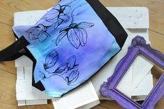 Magnolia floral handpainted tote bag unique spring bag by EJSIdsgn