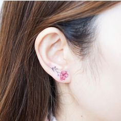 Cherry Blossom Tattoo Designs are accepted by many people as these are mainly nature-themed tattoos. Hence, here we are giving you 9 Cherry Blossom Tattoo D Mini Tattoos, Body Art Tattoos, Small Tattoos, Flower Tattoos, Ear Tattoos, Tattos, Pretty Tattoos, Beautiful Tattoos, Small Shoulder Tattoos