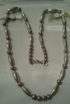 Old Pawn Vintage Navajo Desert Pearls 925 Sterling Silver Bench Bead Necklace #Unbranded