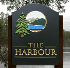The Harbour Lake House Sign Cottage Names, Cottage Signs, Lake House Signs, Lake Signs, Painted Wood, Hand Painted, Lake Landscaping, Property Signs, Carved Wood Signs