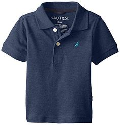 Nautica Baby Boys Short Sleeve Solid Pique CVC Polo Navy 18 Months ** Check this awesome product by going to the link at the image.