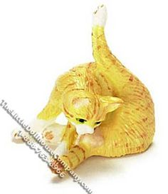 """Bring this cute little miniature orange preening cat home to your dollhouse. Made of hard plastic this sweet little cat is very durable, and will bring great character to your dollhouse.  Dimensions: 1-1/4"""" long x 7/8"""" wide x 1-1/8"""" tall. Functionality: Fixed, not posable. $12.99 http://www.thelittledollhousecompany.com/dollhouses-miniatures-furniture-kits/miniature-orange-cat-preening-for-dollhouses-1/"""