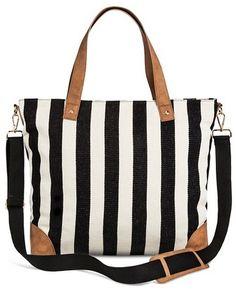 f74943c6e83d Find this Pin and more on Bags ♥. Women s Wide Striped Canvas Tote with Removable  Crossbody Straps Black White - Merona™