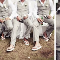 light gray groomsmen.. no flip flops though. lol