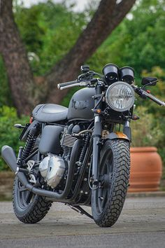 "I know I'm a Harley girl, but this Triumph ""Bonny Black Row"" by Dino Romano is actually quite hot."