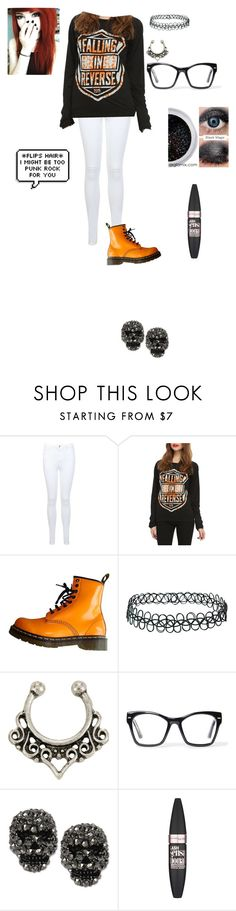 """""""Falling in Reverse contest"""" by clea123 ❤ liked on Polyvore featuring Miss Selfridge, Dr. Martens, Topshop, Spitfire, Betsey Johnson and Maybelline"""