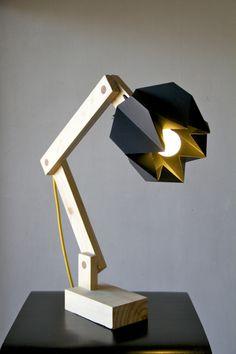 Lámpara de origami y madera de moshi-moshi