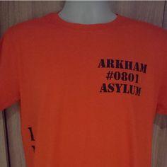 Batman Arkham Asylum Joker Prisoner Tshirt/Arkham Asylum Top ($21) ❤ liked on Polyvore featuring tops, t-shirts, tee-shirt, pattern shirt, unisex t shirts, print shirts and red t shirt