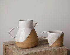 Duck Pitcher and Diagonal Camp Mug by @Helen Levi