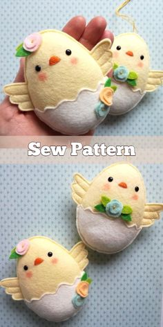 DIY Easter Felt Chicks Sew Pattern & Tutorial - DIY Easter Felt Chicks Sew Pattern & Tutorial Best Picture For cool crafts For Your Taste You are - Sewing Toys, Sewing Crafts, Free Sewing, Diy For Kids, Crafts For Kids, Summer Crafts, Diy Ostern, Easy Sewing Patterns, Sewing Ideas