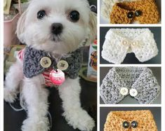 Crocheted Small Dog Puppy scarf Chooes from 3 by QuiltNCrochet