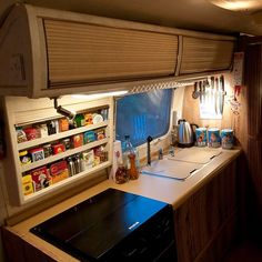 I LOVE this little organized kitchen shelving unit