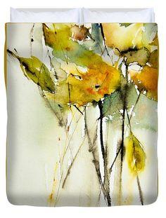 Yellow Explosie Duvet Cover by Annemiek Groenhout