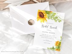 Sunflower Bridal Brunch Invitation Template Rustic Wedding | Etsy
