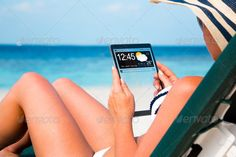 Woman with a tablet in hands ...  beach, business, button, clear, communication, computer, concept, connection, contact, creative, deckchair, design, device, digital, display, fashion, futuristic, gadget, girl, hands, holiday, icons, ideas, innovation, internet, mobile, modern, network, new, pad, person, screen, sea, smart, smartped, sun lounger, sunbed, tablet, tech, technology, touch, touchscreen, transparent, trendy, vacation, weather, web, widget, wifi, woman