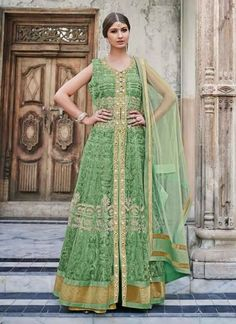 Marvelous Parrot Green Embroidery Work Net Wedding Anarkali Suit