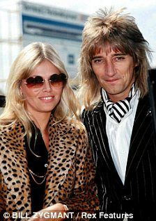 Rod Stewart and Britt Ekland (love Britts heart sunglasses and leopard jacket)
