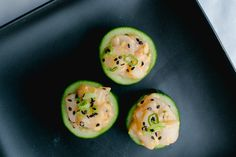 Scallop tartare cucumber bowls. Precious, right? Wait til you taste them.