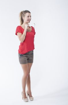 Hot red paneled top with cowl back, paired with cotton sateen shorts with pleather trim