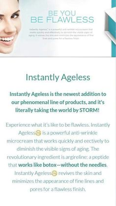 "Instead of ""going under the knife,"" why not try a product that works naturally with your body?! In less than 5 minutes, your flaws and wrinkles can be virtually diminished! Yes please!  www.inthismoment.jeunesse.com Ageless Cream, Care For All, Under The Knife, Perfect Skin, Stem Cells, Revolutionaries, Your Skin, Health And Beauty, Anti Aging"