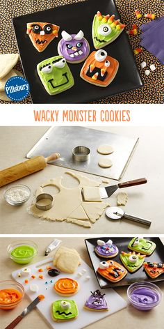 Bring these silly cookies to your next Halloween get-together! Kids can join in on the fun of decorating too for a fun Halloween activity for the whole family! Shared by Where YoUth Rise. Halloween Snacks, Halloween Cookies, Holidays Halloween, Happy Halloween, Halloween Decorations, Halloween Party, Halloween Magic, Halloween Stuff, Holiday Treats