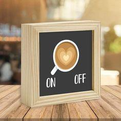 Quadro Box Café On Off - Encadreé Posters. O quadro box é um excelente complemento para sua decoração, ele fica bem em qualquer lugar da casa, pode ser na sala, no quarto do casal, no quarto das crianças, na cozinha ou no escritório, além de ser uma ótimo presente para uma pessoa querida. Use para decorar mesas, prateleiras, bancadas ou diretamente na parede. Escolha sua moldura sua preferida e receba em casa o quadro produzido especialmente para você e feito com muito amor!