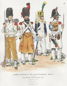 Infantería de Línea 14º 1808 Grenadier and Sapper, 1812 Voltigeur and Grenadier in greatcoat. in Spain