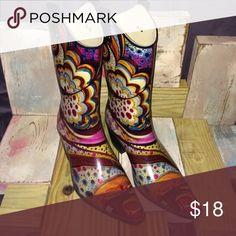 """Nomad rain boots Colorful """"cowboy boot"""" style rain boots. Monet design. Size 10. Excellent condition! Shoes Winter & Rain Boots"""