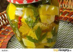 Nakládané sýry v bylinkách recept - TopRecepty.cz Pickles, Cucumber, Pudding, Jar, Desserts, Food, Tailgate Desserts, Deserts, Custard Pudding