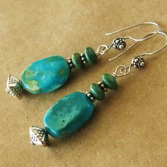 Hand rounded Kingman turquoise nuggets, green roundelle turquoise from Mohave…