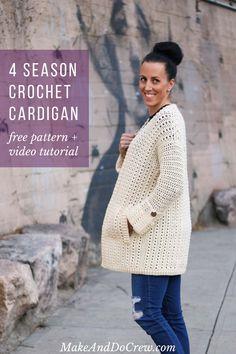 Crochet Jacket Pattern, Gilet Crochet, Crochet Coat, Crochet Winter, Crochet Shirt, Crochet Clothes, Crochet Vests, Crochet Edgings, Crochet Sweaters