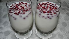 Pomegranate Drink It is hard to give out a recipe for this drink. Its just the consistency of milk, sugar and condensed milk - just keep mixing the three till the pomegranates come to the top...   Sounds interestingly delicious!