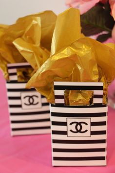treat boxes, COCO Chanel Party Printable, coco chanel inspired bridal shower, baby shower, sweet 16 birthday, glitz and glam, birthday, black, white and gold