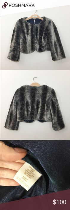 """{Free People} Faux fur cropped jacket xsmall Free People Faux Fur Jacket Size XS – In perfect condition! - Sold Out Item - Beautiful Faux Fur jacket from Free People - Sizing: Women 35-36"""" at chest, 17"""" long, 16"""" between shoulders, 18"""" long sleeves. Very unusual colors of taupe and brownish-green with blue undertones. Soft fuzzy feel. Material: 100% Acrylic, Closure Style: Open front with hooks/eyes. Garment Length: Cropped. A stunning jacket! Free People Jackets & Coats"""